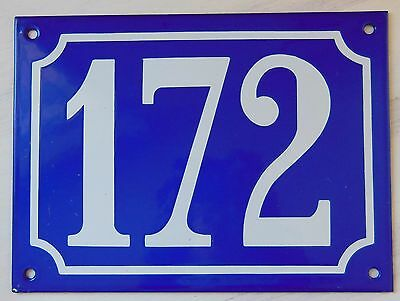 Large ANTIQUE FRENCH STEEL ENAMEL DOOR GATE HOUSE PLAQUE SIGN Blue Number 172