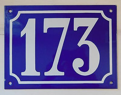 Large ANTIQUE FRENCH STEEL ENAMEL DOOR GATE HOUSE PLAQUE SIGN Blue Number 173