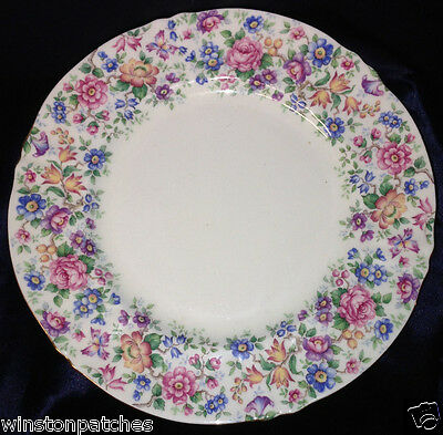 "Crown Staffordshire England Springtime Dinner Plate 10 5/8"" Floral Chintz"