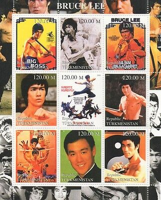 Bruce Lee Martial Arts Kung Fu Karate Turkmenistan 2000 Mnh Stamp Sheetlet