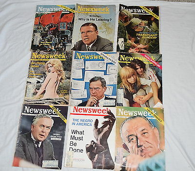 Vintage Newsweek Magazine 9 Issue Lot from 1967