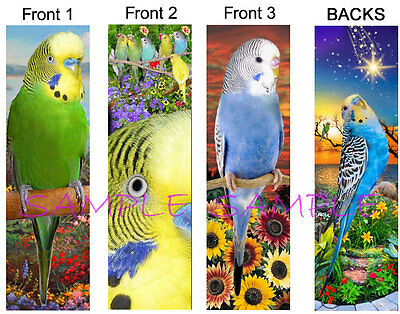 3 set-BUDGIE Parakeet BOOKMARK Parrot Pet Bird Green BLUE Book Card ART Figurine
