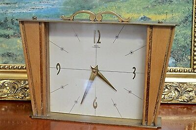 Vintage Smiths Tempora Brass Wood Mantle Clock 8 Day Floating Balance Retro