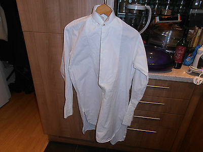 "Vtg Plain Fronted Collarless Dress Shirt sz 14"" Cw Collar"