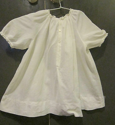 Antique cream white batiste cotton & lace dress  - fits large doll or a baby VGC