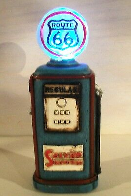 New Route 66 Resin Gas Pump W/Led Globe Light - Antique / Vintage Style - New