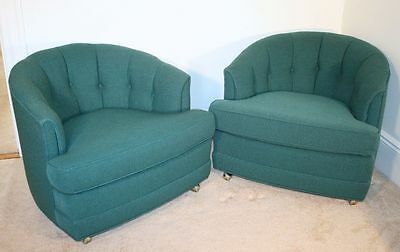 Vintage Pair of Modern Lounge Club Chairs. Button Tufted. NICE!
