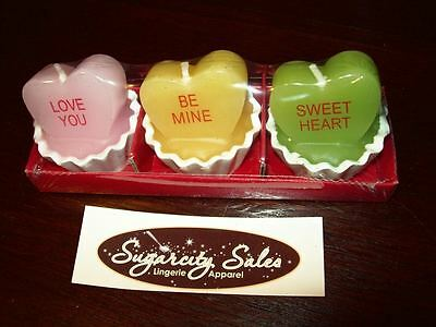 """New Set Of 3 Mini 2"""" Conversation Sweet Heart Candy Cup Valentine Votive Candles"""