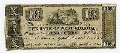 1832 $10 The Bank of West Florida - Appalachicola, FLORIDA Note
