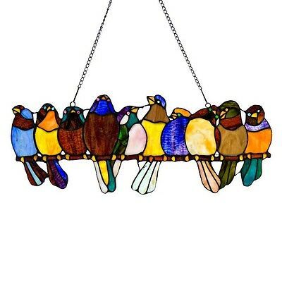 "9.5"" x 24.25"" STAINED GLASS BIRDS ON A WIRE WINDOW / WALL PANEL #10279  DECOR"