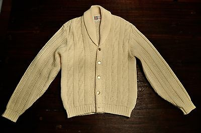 Vintage 1950s Wool Shawl Collar Cardigan Sweater by REVERE SPORTSWEAR Size M 60S