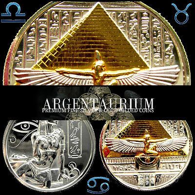 2 oz Silver .999 Egypts Cleopatra Proof Like Mirrored & 24kt Gold Gilded