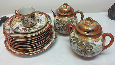 Collectible Antique Japanese Geisha Girl Porcelain  Partial Tea Set