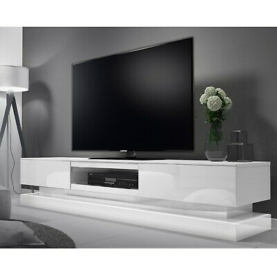 LED White High Gloss TV Unit With Lower Lighting