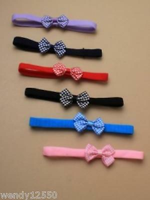 Pack Of 6 Childs Soft Stretch Elastic Bandeaux With Gingham Bow - Sp-6041 Pk6