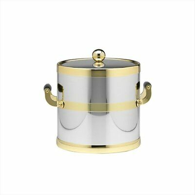 Kraftware Americano 3 Qt Ice Bucket with Wood Side Handle in Chrome