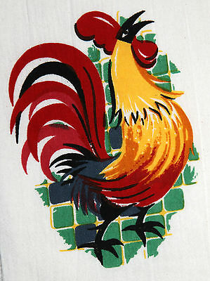 Retro Vintage Style Cotton Flour Sack 50's Kitchen Towels with 'ROOSTER DELUXE'