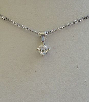 New .16ct Diamond Solitaire 9ct White Gold Pendant Necklace & 20 inch curb Chain