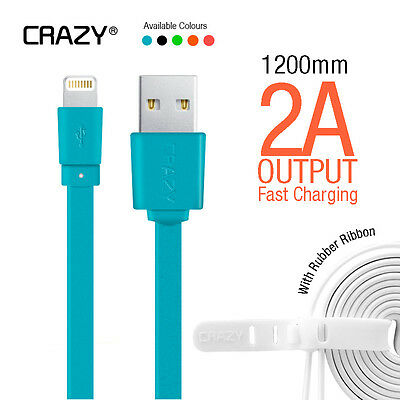 CRAZY iPhone 5 6S plus iPad iPod Flat USB Data Sync FAST Charging cable 1.2M
