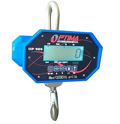 3,000 LBS x 0.5 LB Optima Hanging Digital LCD Crane Scale With Battery & Remote