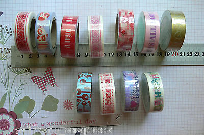 Great Quality WASHI TAPE - 11 Asst 15mm Wide 10 Metres Long Green Tara MultiList