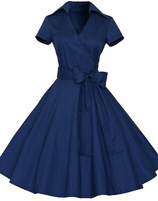 Women's Bow Belt Vintage Style 1950s Retro Classical Evening Party Swing Dress
