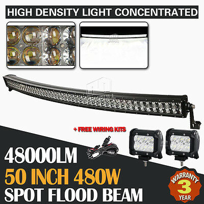 "2x CREE 4"" 30W +50INCH 960W CURVED LED LIGHT BAR SPOT&FLOOD OFFROAD FORD UTE SUV"