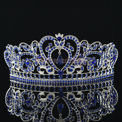 Royal Blue Crystal Rhinestone Wedding Crown Pageant Princess Tiara Veil Headband