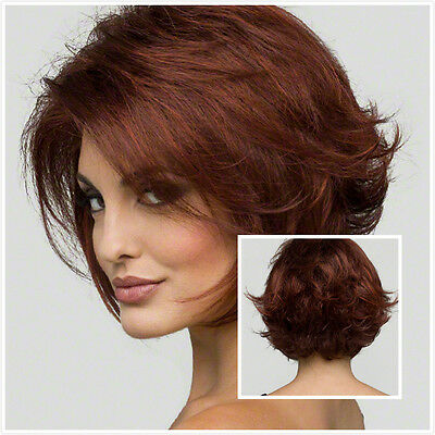 Hot Women Short Wave Curly Heat Resistant Hair Synthetic Hair Wine Red Wigs+Cap