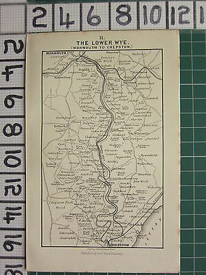 1888 Antique Wales Map The Lower Wye Monmouth To Chepstow Llanddgo Tintern Abbey
