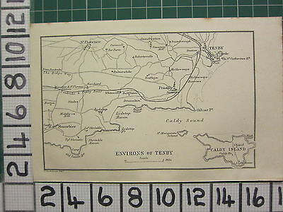 1888 Antique Wales Map ~ Environs Of Tenby Showing Castle Penally Caldy Island