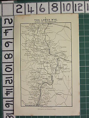 1888 Antique Wales Map ~ The Lower Wye Ross To Monmouth ~ Welsh Bicknor Goodrich