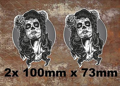 2 x Glossy Vinyl Stickers - Sugar Skull Face Lady Girl Zombie Laptop Decal