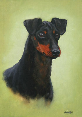 "Manchester Terrier dog L Edition mounted oil paint art print by H Irvine 16""x12"""