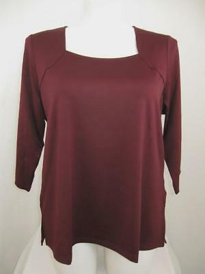 Susan Graver Essential Rich Wine Butterknit Square Neckline 3/4 Sleeve Top