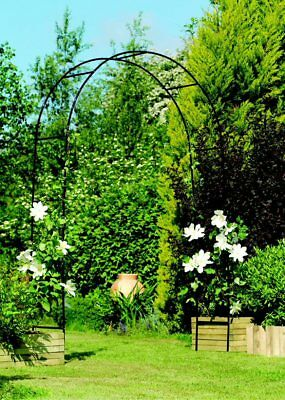 New Gardman Easy Arch Black Metal Garden Arch 2.4 x1.4m Rose Arch