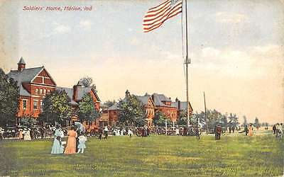 Marion Indiana Soldiers Home Flag Pole Scene Antique Postcard K22942