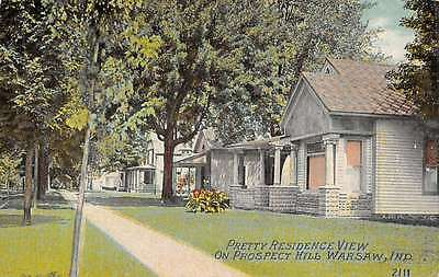 Warsaw Indiana Prospect Hill Residence View Antique Postcard K22953
