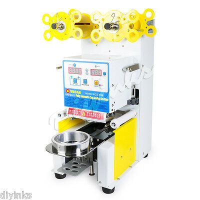 450W White Fully Automatic Cup Sealer Machine Heavy Duty Commecial Lidding Film