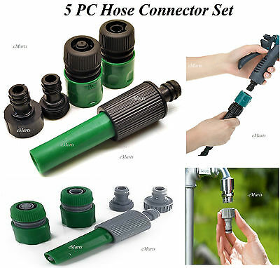 5 Pcs Garden Hose Connector Set Spray Gun Nozzle Tap Fitting Watering Kits (New)