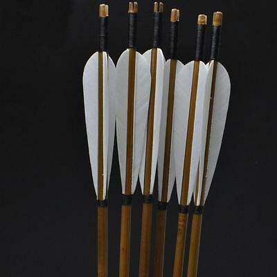 """100pcs White Left Wing Feathers Fletching 4"""" Parabolic DIY Wooden Bamboo Arrows"""