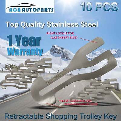 10x Removable Shopping Cart Trolley Keys Stainless Steel AU$1 Coin Market Key