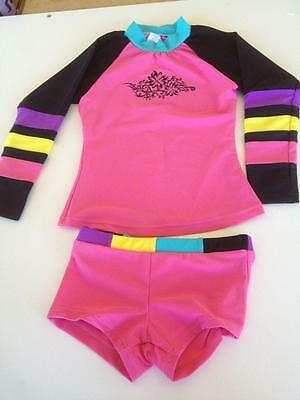New Girls Swimwear Swimmers Rashie Top and Shorts set. Sizes 4,6,7,9,11