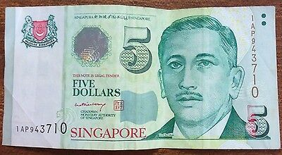 1999 $5 Singapore Banknote circulated condition