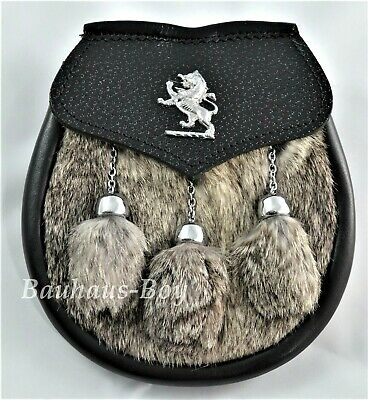 Kilt Sporran Scottish Lion Rampant Grey Rabbit Fur And Black Leather For Kilts