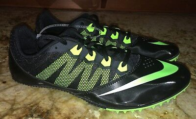 NIKE RIVAL S 7 Black Lime Green Sprint Track Spikes Shoes NEW Mens Sz 10.5 12