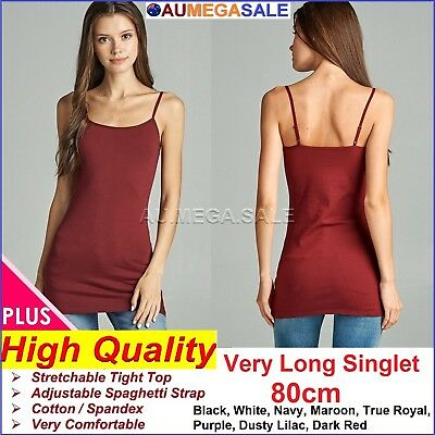 PLUS SIZE LONG CAMI BASIC TIGHT WOMEN SINGLET TOP 80cm VERY LONG 1XL 2XL 3XL XL