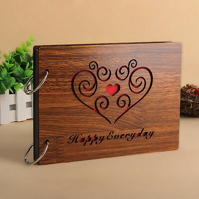 """DIY 30Pages 8"""" 22 x 16cm Wood Cover 2 Rings Photo Album Scrapbook HAPPY EVERYDAY"""