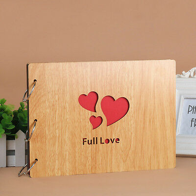DIY 30Pages 27.3x19.8cm Beige Wood Cover 3 Rings Photo Album Scrapbook FULL LOVE