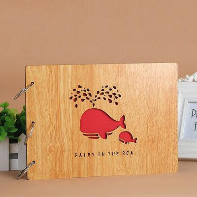 DIY 30Pages 27.3x 19.8cm Wood Cover 3 Rings Photo Album Scrapbook Whale